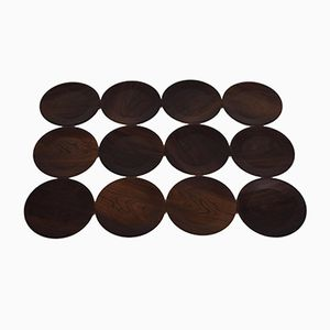 Danish Mid-Century Rosewood Cover Plates from Silva, Set of 12