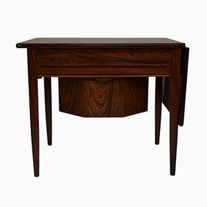 Mid-Century Rosewood Veneer Sewing Table with Drop Leaf by Johannes Andersen