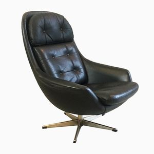 Danish Black Leather Swivel Lounge Chair, 1960s