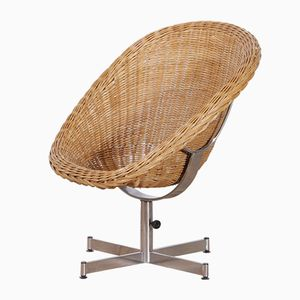 Rattan Swivel Chair by Dirk van Sliedregt for Gebroeders Jonkers, 1960s
