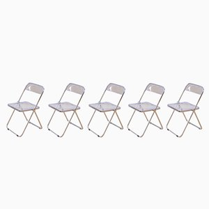 Mid-Century Plia Chairs by Giancarlo Piretti for Castelli, Set of 5