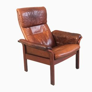 Mid-Century Brown Leather Reclining Armchair by G-Möbel Sweden, 1960s