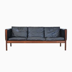 Vintage CH 163 Leather Sofa by Hans J. Wegner for AP Stolen