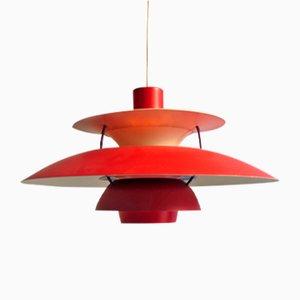 Suspension PH5 Vintage Rouge par Poul Henningsen pour Louis Poulsen