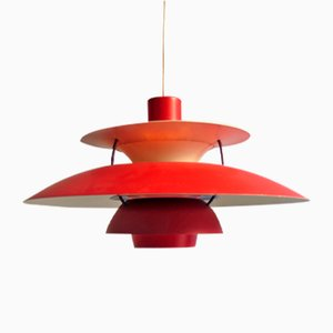 Vintage PH5 Red Pendant by Poul Henningsen for Louis Poulsen