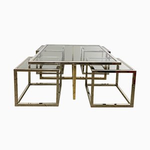 Vintage Coffee Table in Brass and Chrome with 4 Nesting Tables by Maison Charles, 1960s