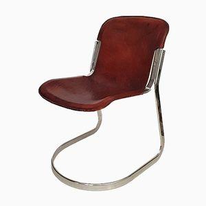 Cognacfarbener Satelleder Sessel von Willy Rizzo für Cidue, 1970er