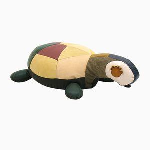 Großes Dekoratives Vintage Ledersitzkissen in Schildkröten Optik