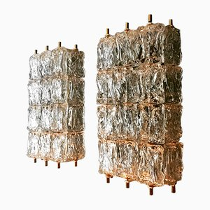 Large Crystal Glass Wall Lamps by Aureliano Toso for Vereinigte Werkstätten, 1950s, Set of 2