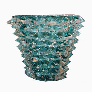 Turquoise Blue Vase in Murano Glass with Spikes Decor, 1980s