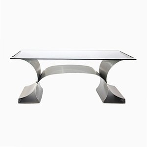 Stainless Steel Coffee Table by Francois Monnet, 1970s