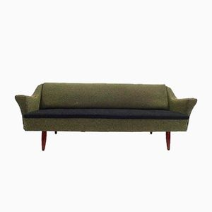 Scandinavian Green & Black Wool Teak 4-Seater Sofa, 1960s