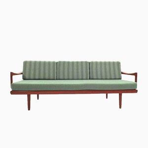 Dormeuse a 4 posti verde menta in teak di Tove & Edvard Kindt-Larsen per Gustav Bahus, anni '50