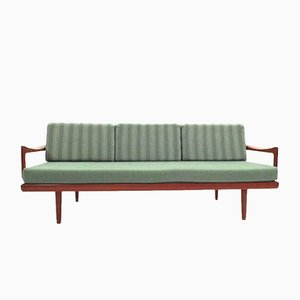 Mint Green & Teak 4-Seater Daybed by Tove & Edvard Kindt-Larsen for Gustav Bahus, 1950s