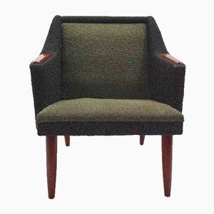 Norwegian Green & Black Wool & Teak Armchair, 1960s