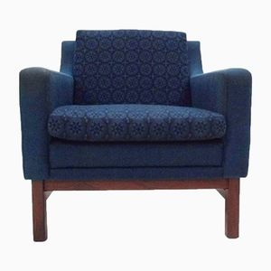 Norwegian Navy Blue Wool & Teak Armchair from Vatne Møbler, 1960s