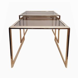 Italian Modern Gold Plated Nesting Tables with Smoked Cut Glass, 1980s