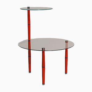 Italienischer Mid-Century Beistelltisch aus Glas mit Roten Tischbeinen