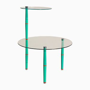 Vintage Italian Glass Side Table with Bright Green Legs