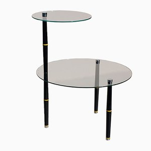 Vintage Italian Glass Side Table with Black Legs