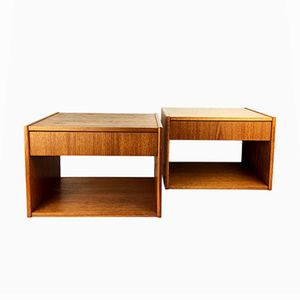 Mid-Century Danish Wall-Mounted Bedside Tables, Set of 2