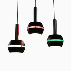 Italian Pendant Lamps in Aluminium and Plexiglass, 1960s, Set of 3