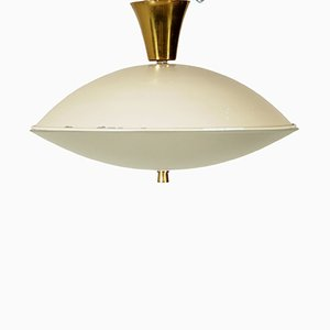 Italian Ceiling Lamp in Brass, Glass, and Aluminum, 1950s