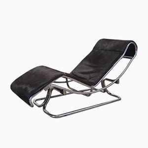 Chaise longue metallo cromato e pelle di Guido Faleschini, anni '70