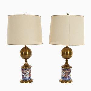 Lampes de Bureau Mid-Century avec Socles en Porcelaine, Chine, Set de 2