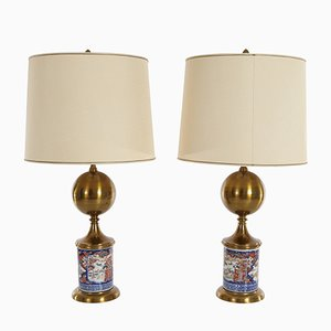 Mid-Century Table Lamps with Chinese Porcelain Bases, Set of 2