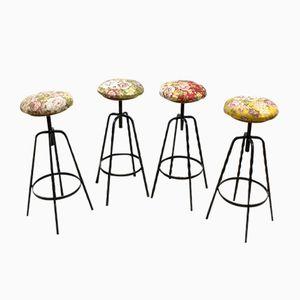 Florale Industrielle Vintage Barhocker, 4er Set