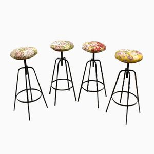 Vintage Industrial Floral Bar Stools, Set of 4