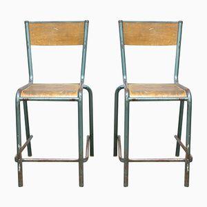Französische Industrielle Vintage Barhocker, 2er Set