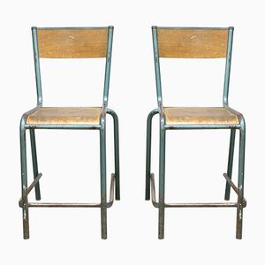 Vintage French Industrial Stools, Set of 2