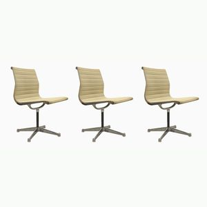 Beige EA106 Aluminum Office Chairs by Charles & Ray Eames for Herman Miller, 1970s, Set of 3