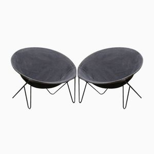 Mid-Century Basket Balloon Chairs, Set of 2