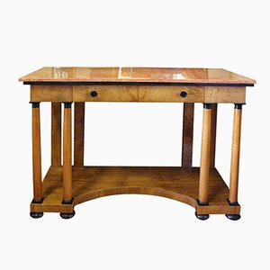 Antique Empire Biedermeier Briar Root Console with Pink Marble Top