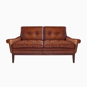 Vintage Danish Brown Leather 2-Seater Settee from Skipper Møbler
