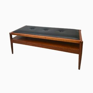 Vintage Coffee Table and Bench with Black Vinyl