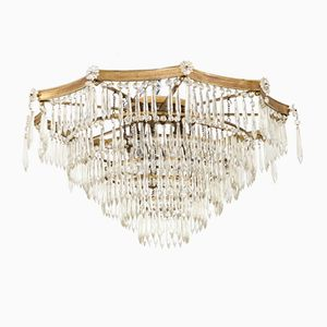 Brass and Crystal Glass Hollywood Regency Chandelier, 1950s