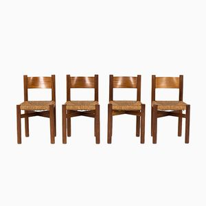 Meribel Chairs in Mahogany by Charlotte Perriand for Steph Simon, 1950s, Set of 4
