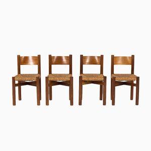 Meribel Stühle aus Mahagoni von Charlotte Perriand für Steph Simon, 1950er, 4er Set