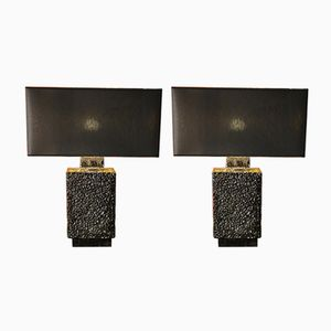 Black Ceramic Lamps, 1970s, Set of 2