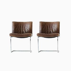 Vintage Leather Cantilever Chairs by Robert Huassmann for de Sede, 1960s, Set of 4