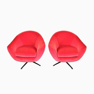 Fauteuils Pivotants Vintage en Velours, 1960s, Set de 2