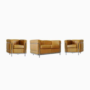 Vintage Leather LC 2 Sofa and Lounge Chairs by Le Corbusier for Cassina, Set of 3