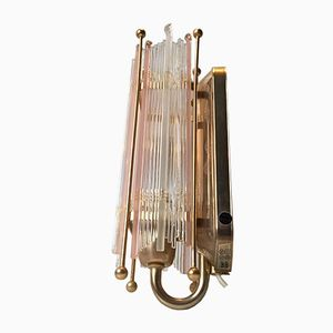 Vintage Swedish Crystal and Gilded Brass Sconce from Rejmyre, 1970s