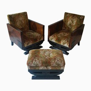 Art Deco Spanish Club Armchairs and Stool, 1940s, Set of 3