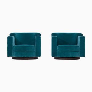 Blue Velvet Swivel Lounge Chairs by Milo Baughman, 1960s, Set of 2