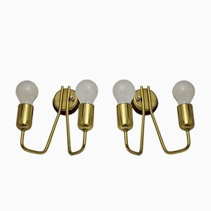 Austrian Brass Sconces, 1950s, Set of 2